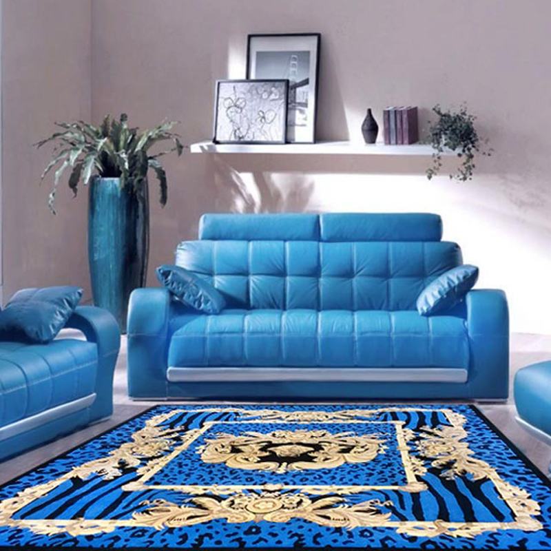 Blue Black and Gold Centre Square Animal Print