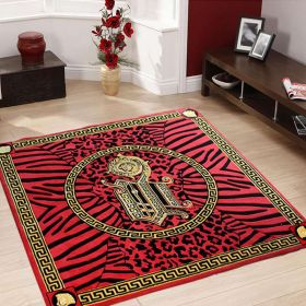 Red Black and Gold Centre Circle Animal Print